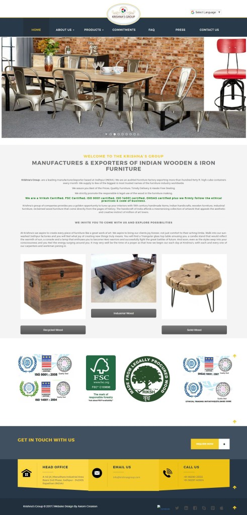 Krishna's Group – Manufactures & Exporters of Indian Wooden & Iron Furniture