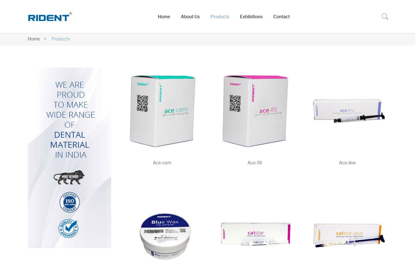 Website development for Dental Products