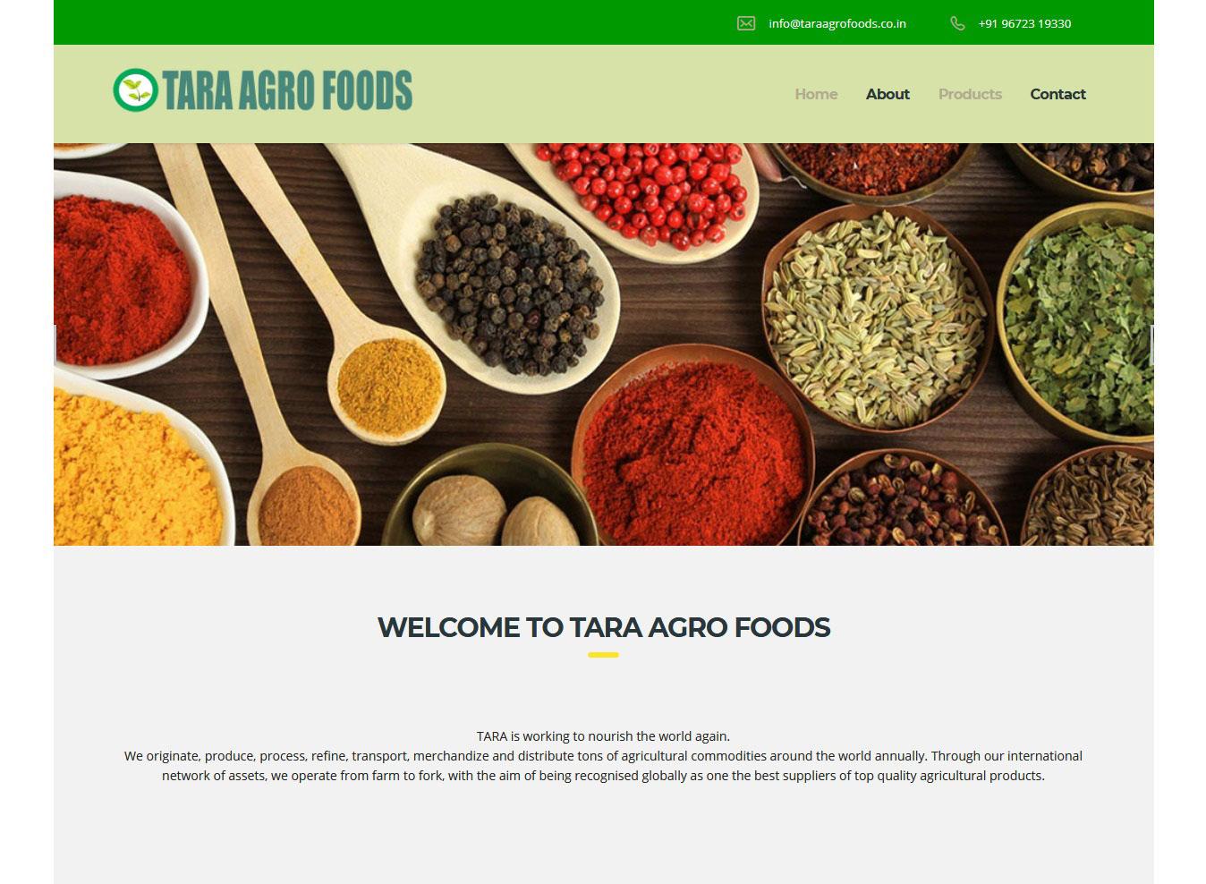 Website development for Agro foods